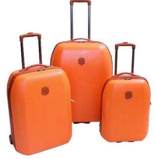 Orange Three Piece Hardside Rolling Upright Set
