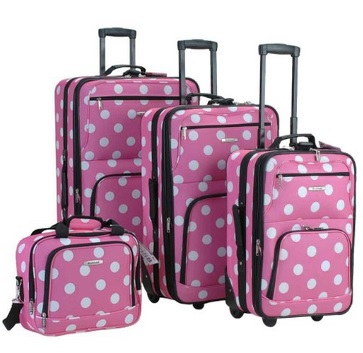Girly Pink and White Dots 4 Piece Luggage Set