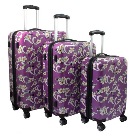 purple floral luggage