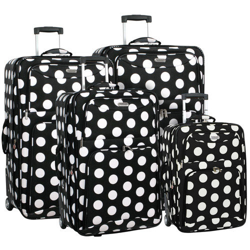 black and white polka dot luggage