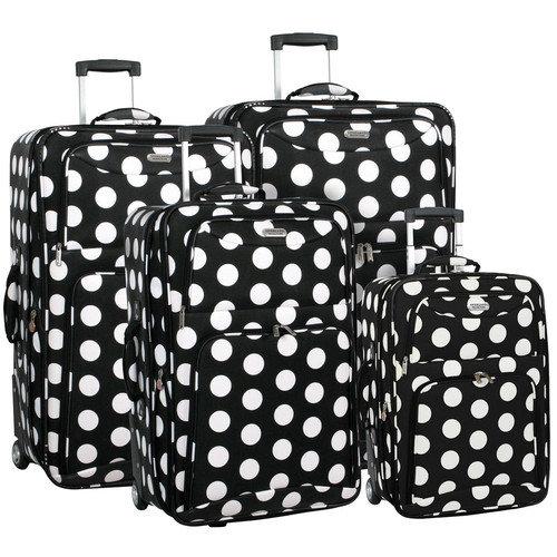 black and white polka dot luggage