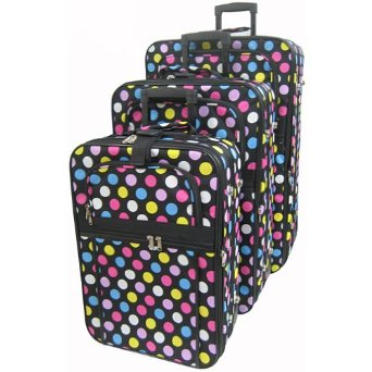 colorful polka dot suitcases