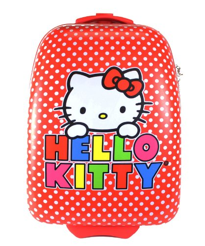 Cute Hello Kitty Polka Dot ABS Rolling Suitcase for Girls