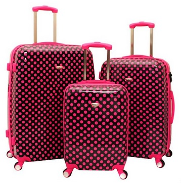 Pink and Black Polka Dot 3-Piece TSA-Lock Hardside Luggage Set
