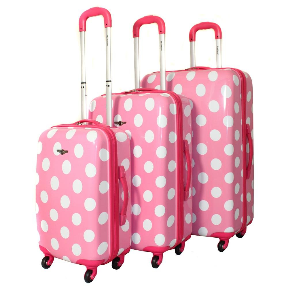 baby pink polka dot suitcases