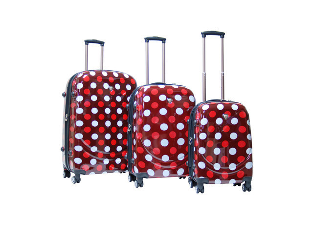 red and white polka dot suitcases