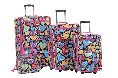 4 Piece Heart Print Luggage Set