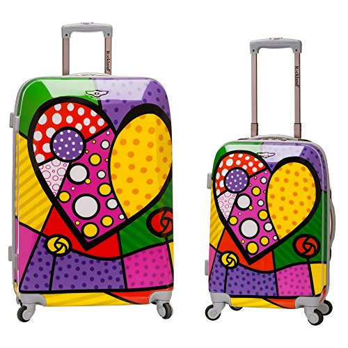 Fun Heart Print 2 Piece Upright Luggage Set