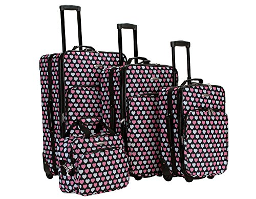 heart print luggage sets