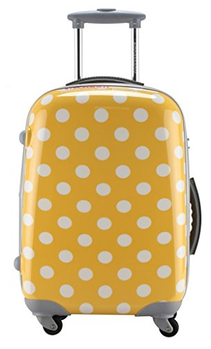 Fun Yellow Polka Dotted Suitcase for Sale
