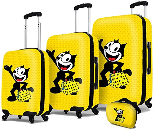Happy YELLOW Felix The Cat Magic Bag 4-piece Hardside Spinner Luggage Set