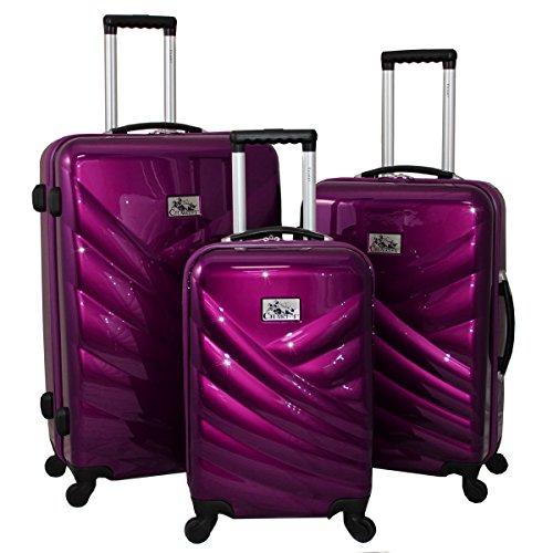 Stylish Metallic VIOLET 3-Piece Hardside Lightweight Upright Spinner Luggage Set
