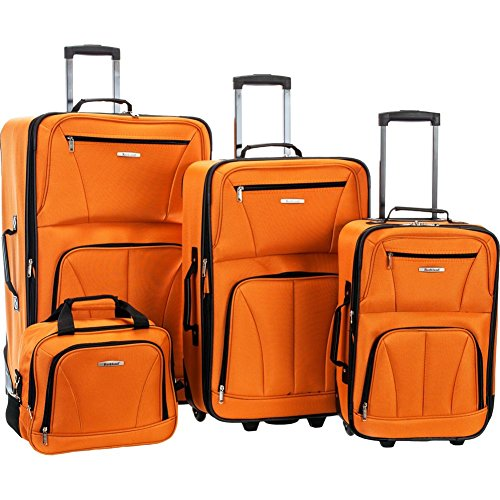 Cool and Affordable Orange Polyester 4 Piece Luggage Set