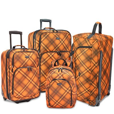 Affordable 4-Piece Orange Casual Luggage Set