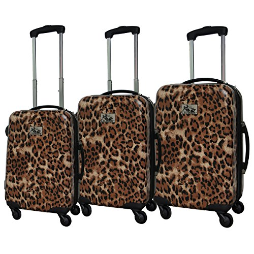 3-Piece Leopard Print Hardside Lightweight Spinner Upright Luggage Set