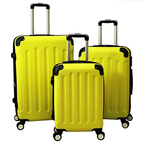 YELLOW 3-Piece Combination Lock Affordable Hardside Spinner Luggage Set
