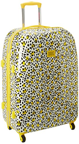 Yellow and White Leopard Print 28 Inch Hardside Suitcase