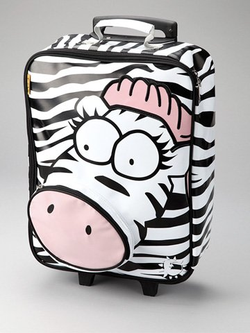 Adorable Zebra Face Wheeled Rolling Luggage for Girls