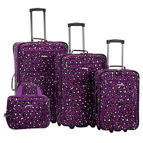 Purple Leopard 4 Piece Luggage Set