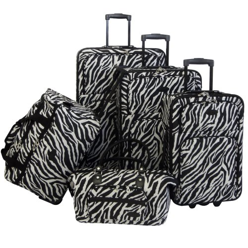Affordable Zebra Print 5 Piece Luggage Set for Sale