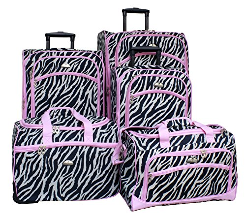 Cute Light Pink and Black Zebra Print 5 Piece Spinner Set