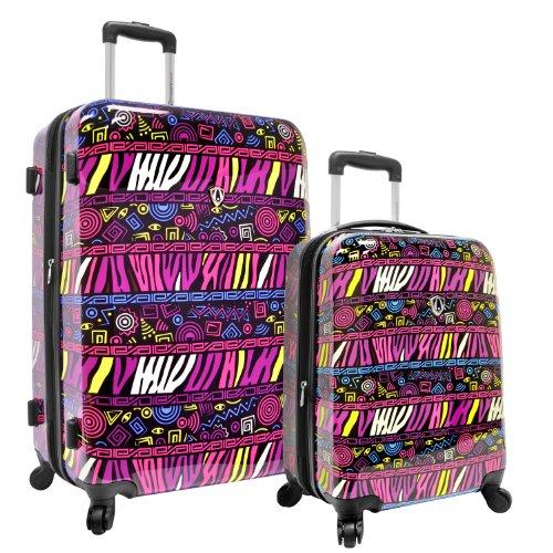 Fun Purple Print 2-Piece Hardside Expandable Luggage Set