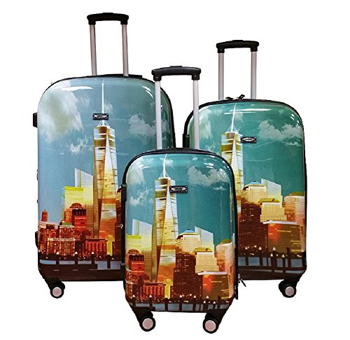Freedom Tower Hard Shell Wheeled Spinner 3 Piece Luggage Set