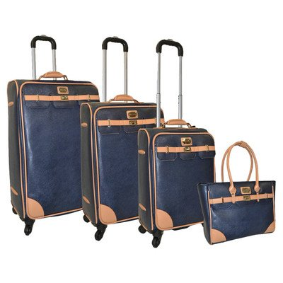 Gorgeous Saffiano Leather Navy Blue 4 Piece Luggage Set