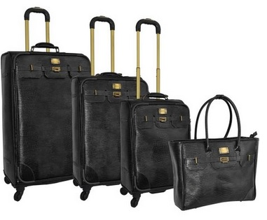 black leather luggage set for women