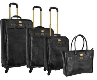 black leather luggage set for women