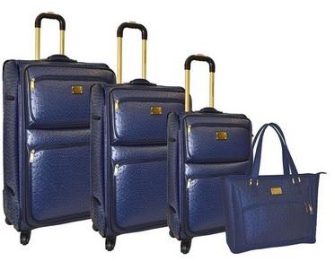 navy blue leather luggage set