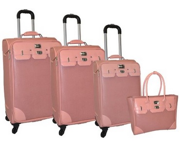 pink mauve leather luggage set