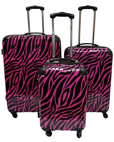Hot Pink and Black Zebra Pattern 3pc Luggage Set