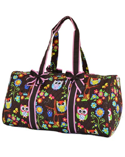 "Cute and Cheap Quilted Owl Print Large 21"" Duffle Bag for Teen Girls"