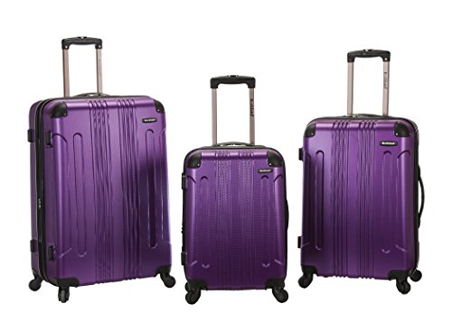 Hardsided 3 piece Upright Purple Luggage Set