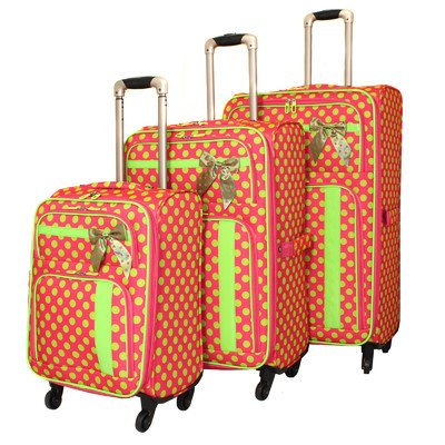 Fun and Girly Pink and Lime Green Polka Dots Suitcases
