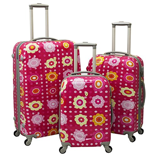 PINK Girly Flower Luggage Set