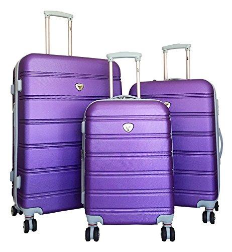 Trendy 3 Pc Upright Purple Luggage Set