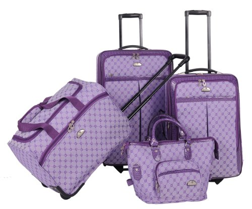 4 Piece Stylish Light Purple Polyester Luggage Set