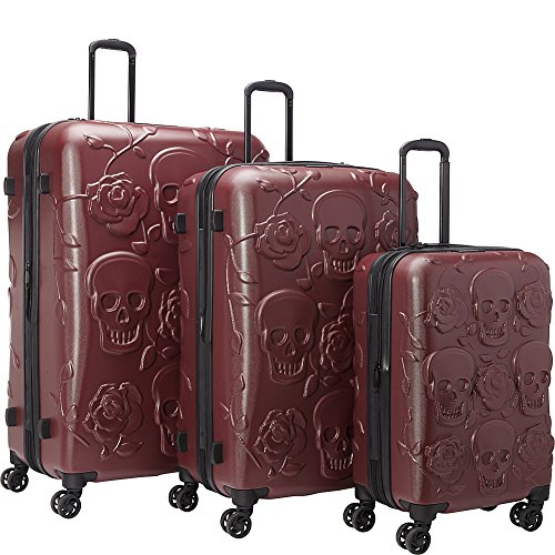 Fun Skulls and Roses Design 3 Piece Polycarbonate Hardside PURPLE Luggage Set