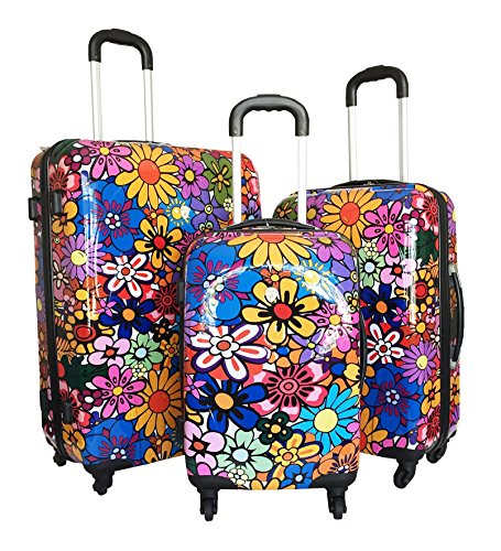 Cute and Girly Colorful Daisy and Sun Flowers Luggage Set