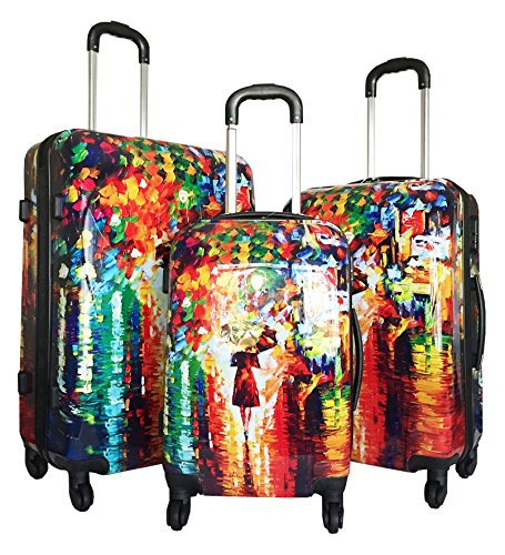 Colorful Girl with Umbrella Rain Design Artistic Luggage