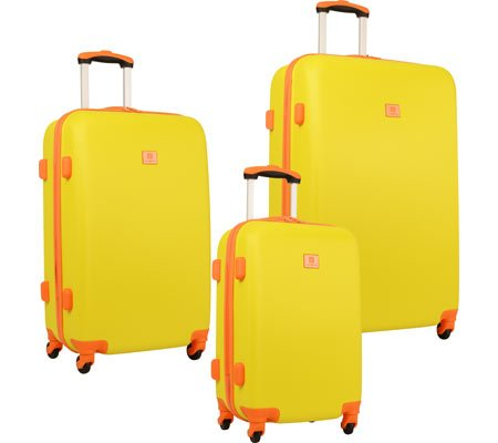Fashion Bright Yellow/Orange 3 Piece ABS Luggage Set