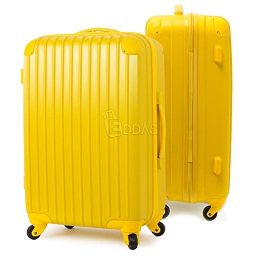 "Yellow 25"" Travel Rolling Luggage Carry-On Hard Suitcase"