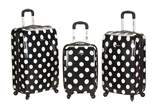 3 Piece Black and White Polka Dots Upright Luggage Set