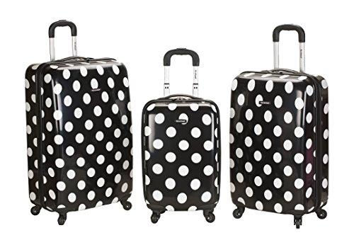 3 Piece Black and White Polka Dots Upright Luggage Set