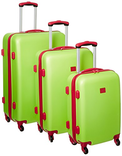 Pretty Lime-Green and Pink 3 Piece Hard Side Luggage Set