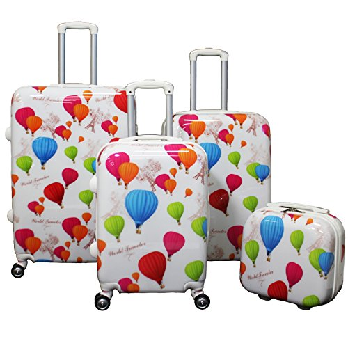 Fun Hot Air Balloon Prints 4-Piece Lightweight Hardside Luggage Set
