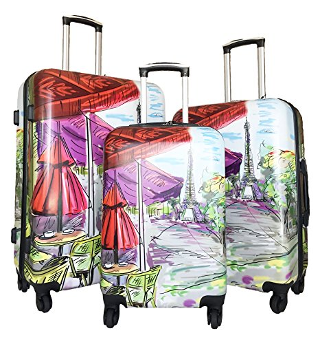 Stylish Paris Eiffel Tower Painting 3pc Pretty Luggage Set