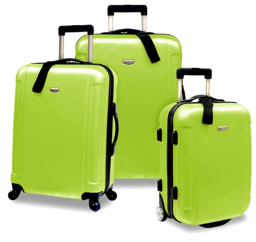 Apple Green 3 Piece Lightweight Hard-Shell Suitcases